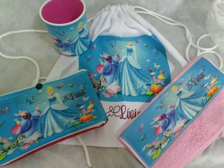 Kit infantil: mochilinha+caneca +lavabinho+necessarie