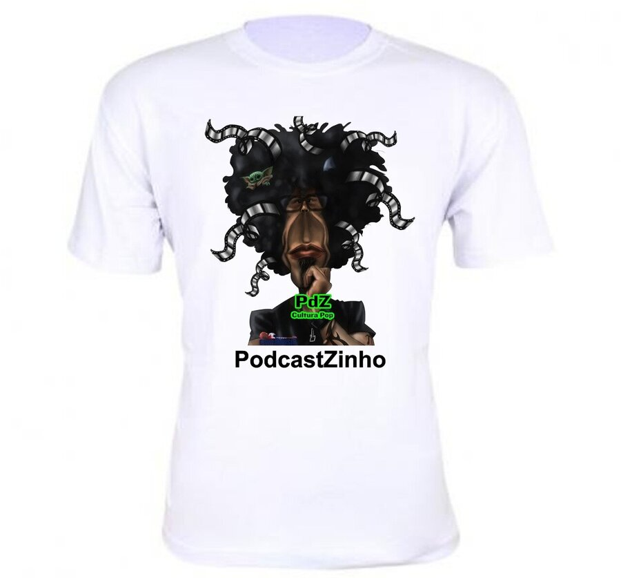 Camiseta branca - PDZ PodcastZinho Cultura Pop